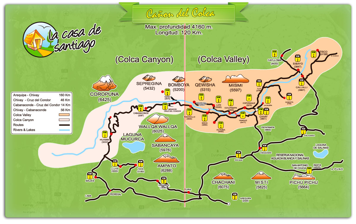 Colca Canyon & Colca Valley Map